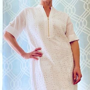Anne Klein white eyelet 3/4 sleeve dress